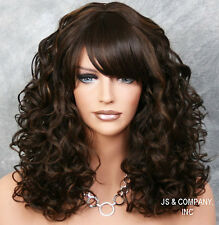 Adorable Curly HEAT SAFE WIG Bangs Brown Strawberry Blonde mix JSMG 4-27