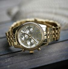Men's Hip Hop Gold Stainless Steel Watch