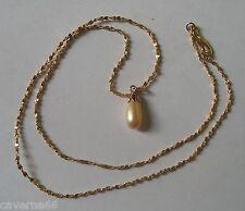 BIJOUX plaqué or COLLIER PENDENTIF perle de verre avec sa chaine / b150
