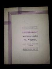 1935 Friendly WEST HAM v FC AUSTRIA (A very rare  VIP Programme)