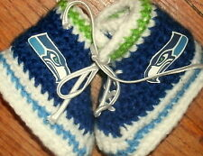 Custom Design Handmade Crochet Seattle Seahawks High Top Gym Shoe Baby Booties