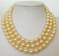 "8mm Yellow South Sea SHELL PEARL NECKLACE 54""  G0111"