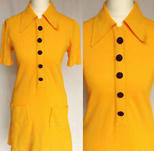 Vintage 60s 70s Mod Psych Yellow Dagger Collar GoGo Scooter Mini Dress S UK 8-10