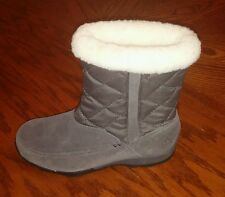 Kamik Moncton womens gray suede waterproof faux fur lined boots size 7