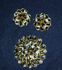 OUTSTANDING BLACK & WHITE ENAMELED PIN & EARRINGS, STUNNING SET