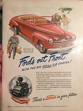 VINTAGE! 1946 ad for Ford Push Button Convertible! Ford's Out Front! V-8 100 HP!