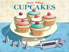 Home Baking Cupcakes Metal Sign, Retro Kitchen Decor, Vintage Decorating Tools