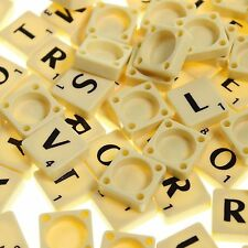 100 PLASTIC SCRABBLE TILES IVORY/BLACK LETTERS NUMBERS FOR CRAFTS UK SELLER