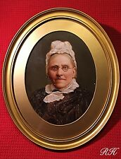 Antique 19th C Fine Portrait Oil Painting Old Victorian Lady Wooden Gilt Frame