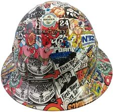 NEW! 3D-Dip FULL BRIM Hard Hat with Ratchet Suspension - Sticker Bomb Quatro