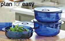 Tupperware Vent N Serve Microwave 3pc Bowls Set Round Navy Blue Seals New