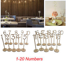 20pcs Wooden MDF 1-20 Table Numbers Stick Set w/ Base For Wedding Birthday Party