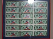 Disney Dollars 1997 25th Anniversary $1 Framed Mickey Uncut Sheet