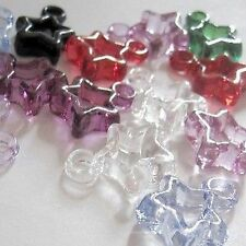 100 pieces 16mm Acrylic Plastic Star Charm Pendants - Mixed - A5140