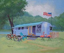 Vintage Airstream Travel Trailer Camper Schwinn Bike Adirondack  Flamingo RV ART
