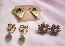 3pr EARRINGS FAUX PEARLS RHINESTONES ACRYLIC CRYSTALS GOLDTONE VINTAGE ESTATE