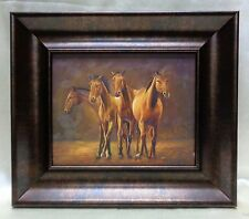 Four Brown Horses Oil Painting on Canvas w. Copper Finish Vintage Style Frame