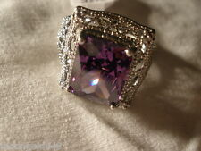 Fashion Amethyst Gemstone Silver Plated Jewelry Women's Ring - Size 9
