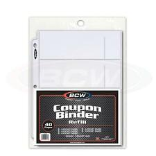 BCW Coupon Binder Refill 40 Assorted Pocket Pages Variety 3 Ring Album Sheets