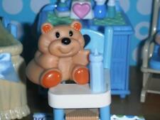 Fisher Price Loving Family Dollhouse Blue High Chair Rumples the Bear Feeding Lt