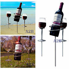 Wine Glass & Bottle Holder Stake Set For Outdoor BBQ Garden Picnic Beach Camping