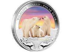 1 $Wildlife in need Tuvalu 2012 polar Baer oso polar pp 1 onza de plata Silver Proof