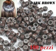 100 MICRORING MICRO RING PER EXTENSION HAIR CAPELLI 5mm. COLORE MARRONE SCURO