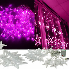 110V Star 2M 168LED Christmas Wedding Party Xmas Curtain Fairy String Light Pink