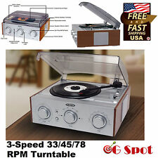 3-Speed 33/45/78 RPM LP Vinyl Record Player Turntable Stereo AM/FM Radio New