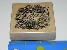 PSX Rubber Stamp G-709 Music Theme Christmas Wreath Violin Harp Joy
