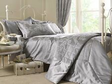 SINGLE BED DUVET COVER SET STOKESAY METALLIC SILVER LUXURY JACQUARD BEDLINEN