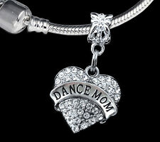 Dance mom Charm  Fits European style Bracelet   Crystal Heart Charm