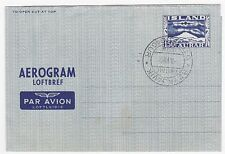 Iceland 1951 Aerogramme With First Day Cancel Fdc