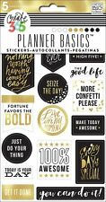 Create 365 The Happy Planner PLANNER BASICS Stickers - BLACK-WHITE-GOLD 5shts