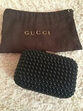 **GUCCI** RTW 2014 Black Satin and Beaded Mini Clutch Bag