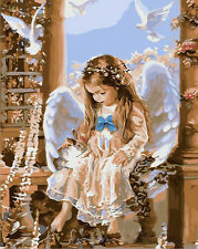 New DIY Paint By Number 16*20inches kit Beautiful Angel On Canvas SPA078