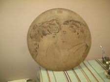 """Antique Flemish Art Carved Wood Plaque Pyrography Picture 15"""" round Wood Burning"""