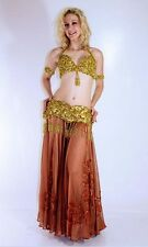 Professional Bellydance Belly Dance Bellydancing Gold Bra and Belt Set