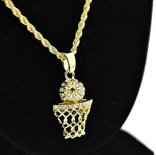 "Basketball Iced-Out Micro Pendant Hip Hop Chain Gold Tone 24"" Inch Rope Necklace"