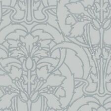 Craftsman Style Gray on Silver Wallpaper