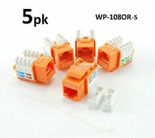 5-PACK Cat6 RJ45 UTP Punch Down 110-Type Keystone Jack, Orange. WP-108OR-5