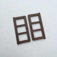 Vintage Sylvanian Families Old Mill Replacement Spares Brown Windows x 2