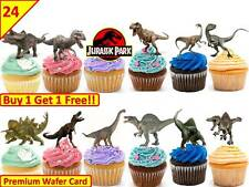 48 JURASSIC WORLD DINOSAUR  Edible Cup Cake Toppers Premium Wafer *STAND UP*
