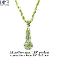 Brand New Micro Pave Gold Microphone Pendant  Rope Necklace Hip Hop Jewelry#1051