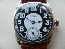 VERY RARE SILVER ROLEX CUSHION GENTS WATCH c1920s NOT WORKING