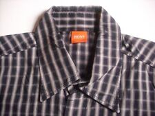 TC2310 Hugo Boss Orange Label Hemd Langarm Gr.L schwarz Karo wie Neu!