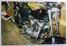 Vintage PHOTO Of A Custom Harley Davidson Motorcycle Leaking Oil On The Carpet