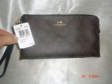 NWT COACH F53563 DOUBLE ZIP WALLET LARGE WRISTLET SIGNATURE BROWN BLACK MSRP$150