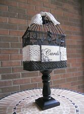Birdcage Card Holder, Wood Pedestal, Wedding Money Holder, Bridal Shower Decor