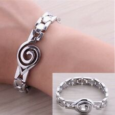 New Men's Casual Jewelry Stainless Steel Silver Chain Naruto Symbol Bracelet Hot